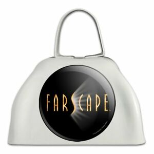 Adaptable Farscape Tv Show Logo Sur Noir En Métal Blanc Sonnaille Vache Bell Instrument-afficher Le Titre D'origine