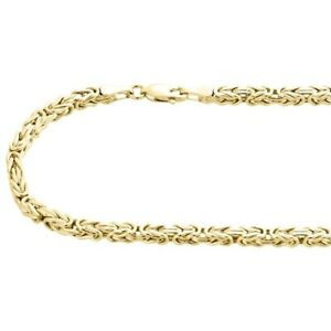 10K-Yellow-Gold-3mm-Hollow-Box-Byzantine-Link-Chain-Necklace-20-034-20-Inches-Mens
