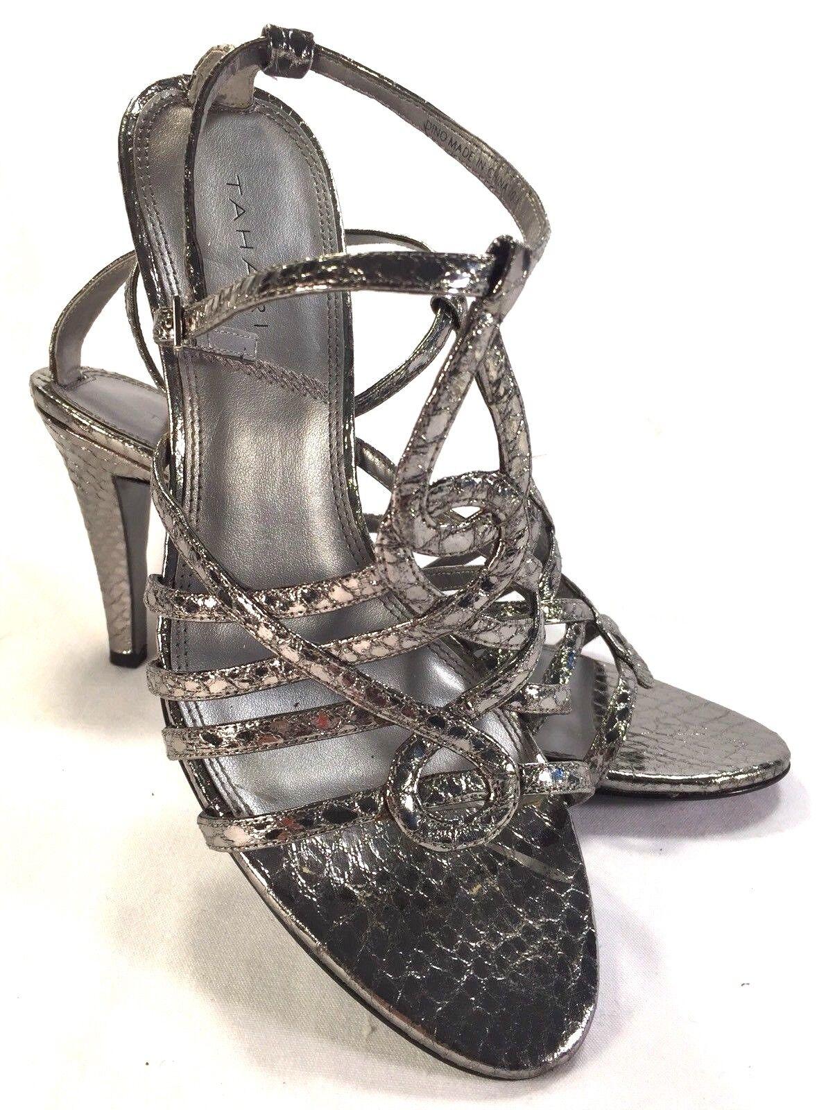 Tahari Silver Metallic Snakeskin Pattern Strappy Peep Toe Sandal Pumps 10M shoes
