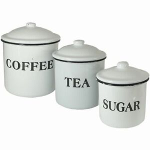 Creative Co-op Coffee Tea Sugar Enamel Metal Containers With Lids Set Multicolor  sc 1 st  eBay & Creative Co-op Coffee Tea Sugar Enamel Metal Containers With Lids ...