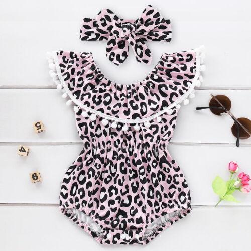 Mignon Infant Baby Girl Leopard Volants Tassel Ange Swimwear Maillot de bain Bikini Set