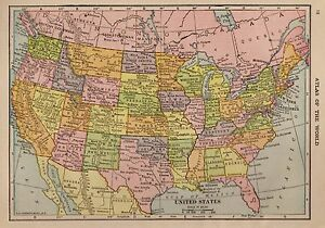 Antique UNITED STATES Map USA Map Of The United States Smap - Antique us map