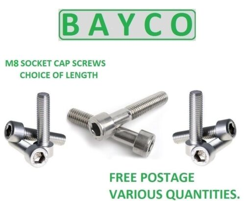 M8 SOCKET CAP STAINLESS STEEL ALLEN HEAD SCREW BOLT LENGTHS FROM 12MM TO 150MM.