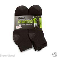 Burlington Men's 10 Pair Pack Comfort Power Quarter Top Sport Sock Lot - Black