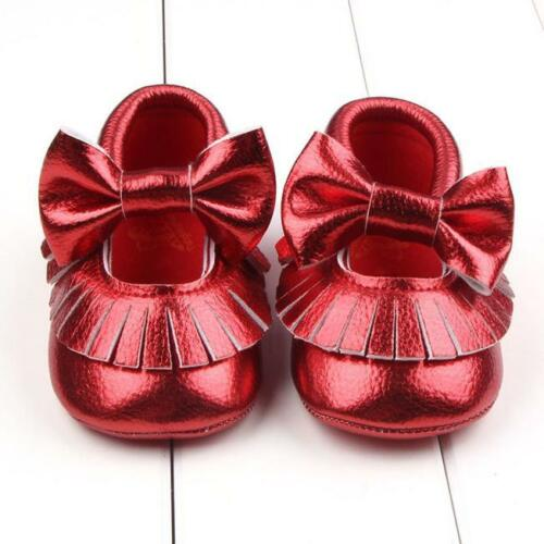 Infant Toddler Girls Crib Shoes Baby Bowknot Soft Sole Prewalker Sneakers 0-18M