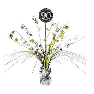 Image Is Loading 90th Birthday Spray Centrepiece Table Decoration Black Silver