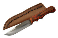 "Sawmill Cutlery Drop Point Hunter 9.5"" – Full Tang – W/ Leather Sheath"