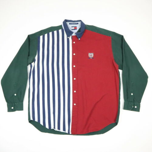 Vtg 90s Tommy Hilfiger Shirt Striped w/ Color Bloc