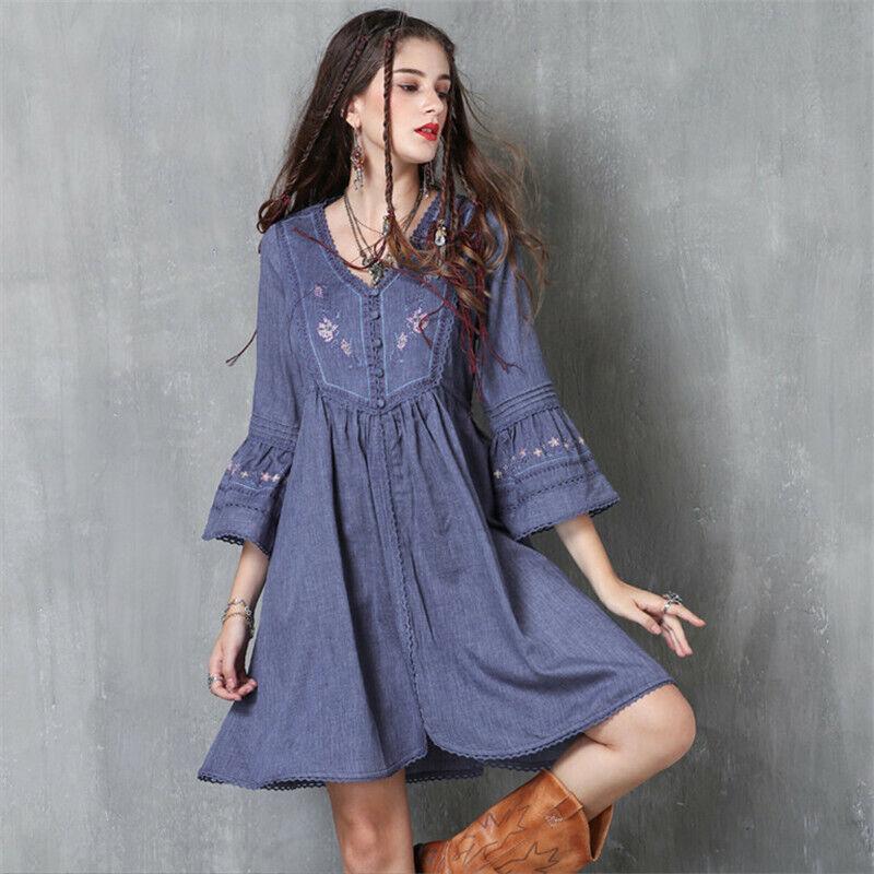 Vintage Frauen Herbst Kleid 2017 Boho Neue Baumwolle Leinen Frauen Kleider