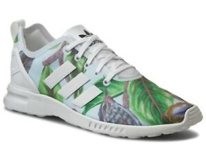 ed328a5583f14 Adidas Women s ZX Flux Adv Smooth Light Trainers Floral Green White ...