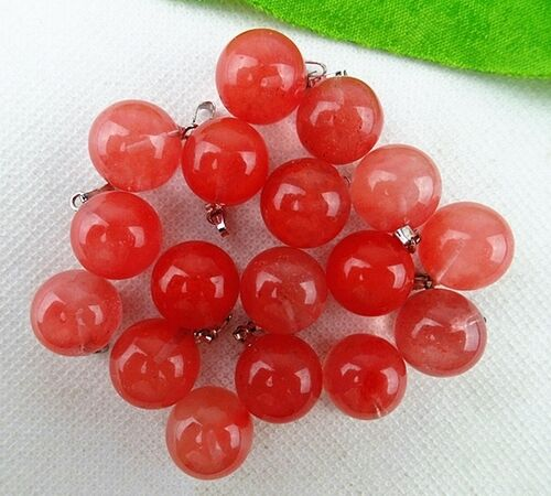 Wholesale 8pcs Beautiful 14mm Different Stone Round Ball Pendant Beads PTB1001