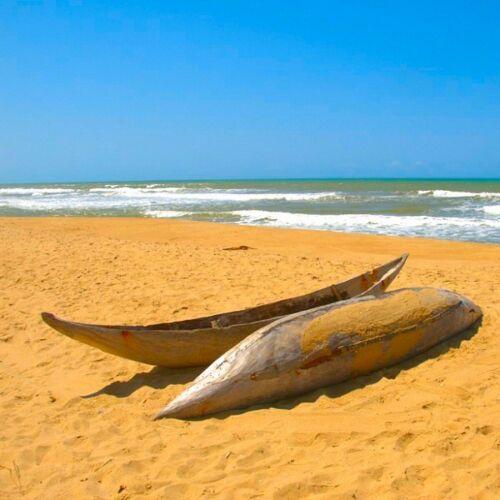 arty nature birthday Greeting Card Madagascar beach boats seaside BLANK INSIDE