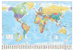 World map poster 24x36 with choice of rolled frame or plaque ebay image is loading world map poster 24x36 with choice of rolled gumiabroncs Image collections
