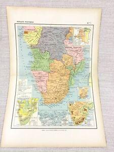 1888 Antik Map Of South Afrika Kolonien Reich Französisch 19th Jahrhundert