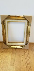 Vintage-Gild-Gold-Carved-Wood-Picture-Frame-Linen-Inset-No-Glass-Mid-Century