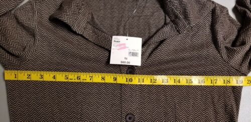 APOSTROPHE Women/'s Brown Herringbone Belted Button Up Ponte Dress sz S L M