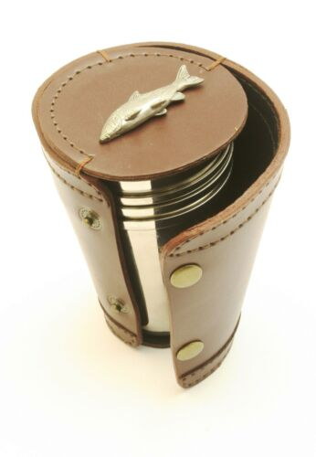 Barbel Fishing River Fishing 4 Stacking Stirrup Shot Cups in Leather Case 019