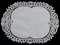 Battenburg Lace White Placemat Table Runner With Hand Embroidery Oval