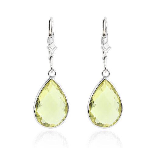 14K White Gold Pear Shaped Earrings With Dangling Lemon Topaz