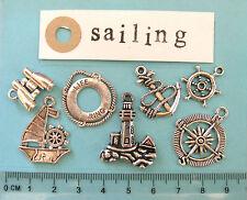 7 tibetan silver sailing boat charms binoculars life ring anchor compass rudder
