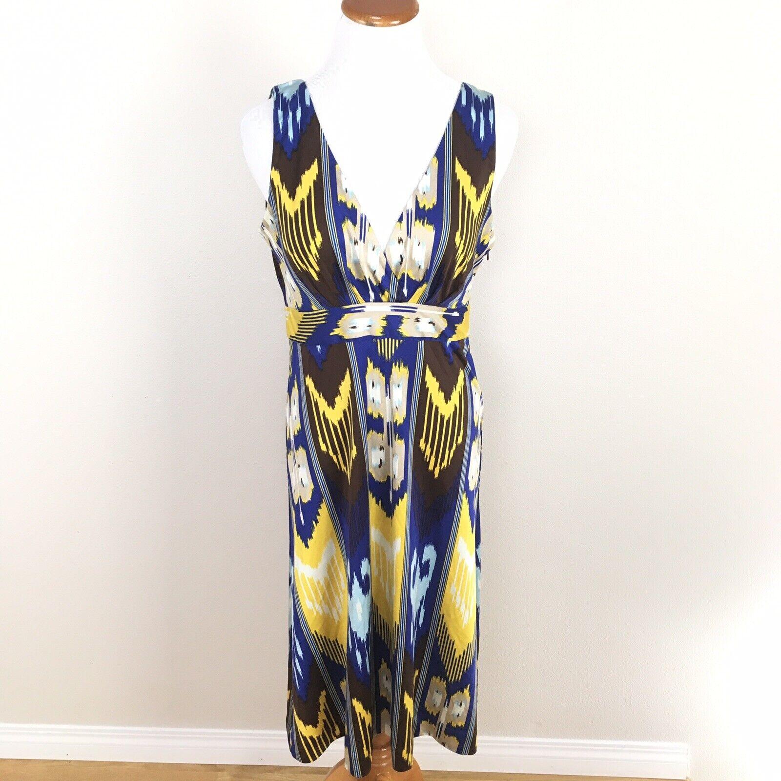 Tory Burch Silk Sleeveless Dress Sz Medium Blau Gelb Ikat Abstract V-Neck
