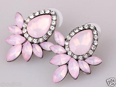 New Lady Woman Elegant clear crystal Rhinestone long Ear Studs hoop earrings 952