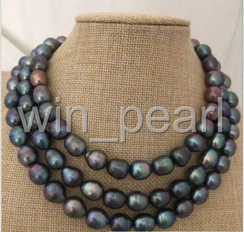 14k SUPERBE 12-13 mm Tahiti Noir Vert Collier De Perles 50 in environ 127.00 cm