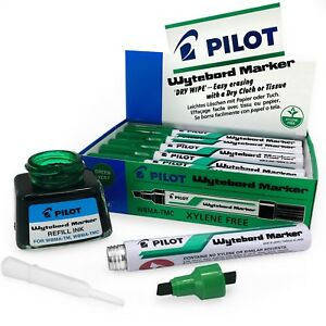 Pilot-Whiteboard-Marker-Pens-Dry-Wipe-Green-Pack-of-12-and-Free-Refill-Ink