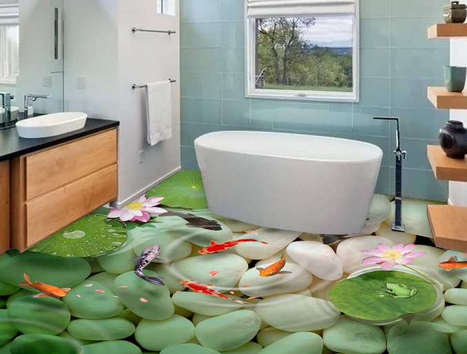 3D Kieselsteine Karpfen Fototapeten Wandbild Fototapete Tapete Familie DE Lemon