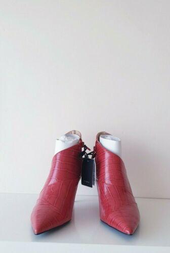 Zara Rouge Imprimé Animal Bottines à Talon Haut Neuf Tailles 3 /& 4 /& 5 /& 6 /& 7