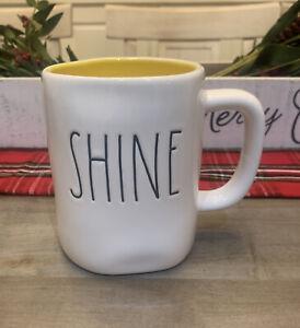 Rae Dunn - Shine LL - White Ceramic Coffee Mug w/ Yellow Interior