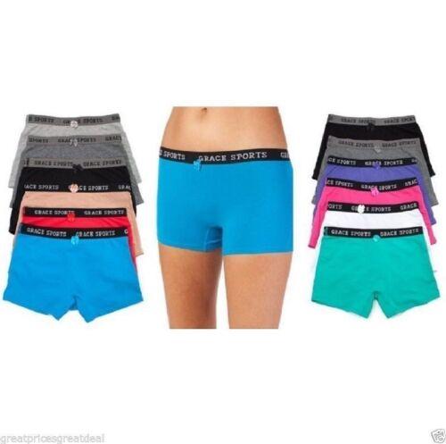 6 12 Womens Sports Cotton Boxer Shorts BoyShorts Yoga Fitness Gym Lot #159 S~5XL