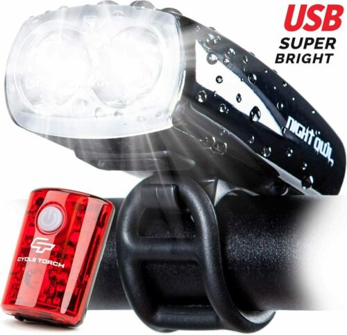 Bicycle LED Headlight Light Front and Tail Set Waterproof USB Recharge 1200mAh