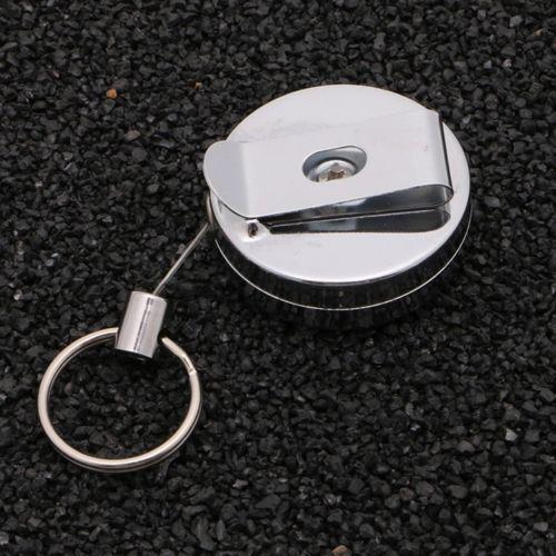 Schlüsselanhänger Ausweishalter Clip Metalldraht Metallschnurr Schnur 74,5 cm