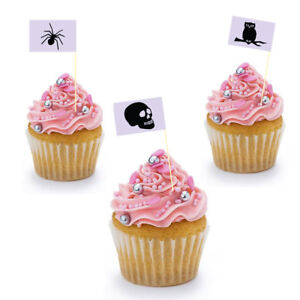 Halloween Party Flag Toppers Cupcake Decorations Cupcake