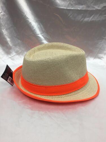 Child Fedora Burlap Hat Boys Girls Summer Straw Beach Sunhat Neon Orange Green