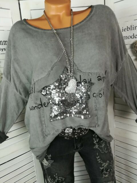 Italy Vintage Blogger Bluse L.A Shirt Silber Pailletten Stern Grau  M L XL