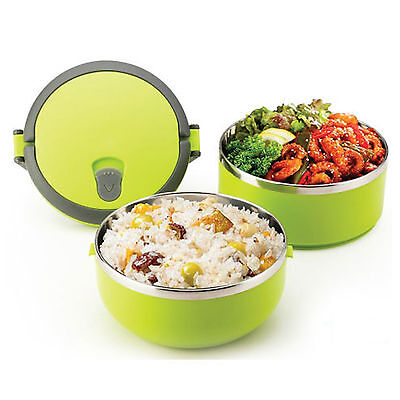 Stainless Steel Lunch Box 1.4L Double Lock Bento Freshness Food Storage Dish