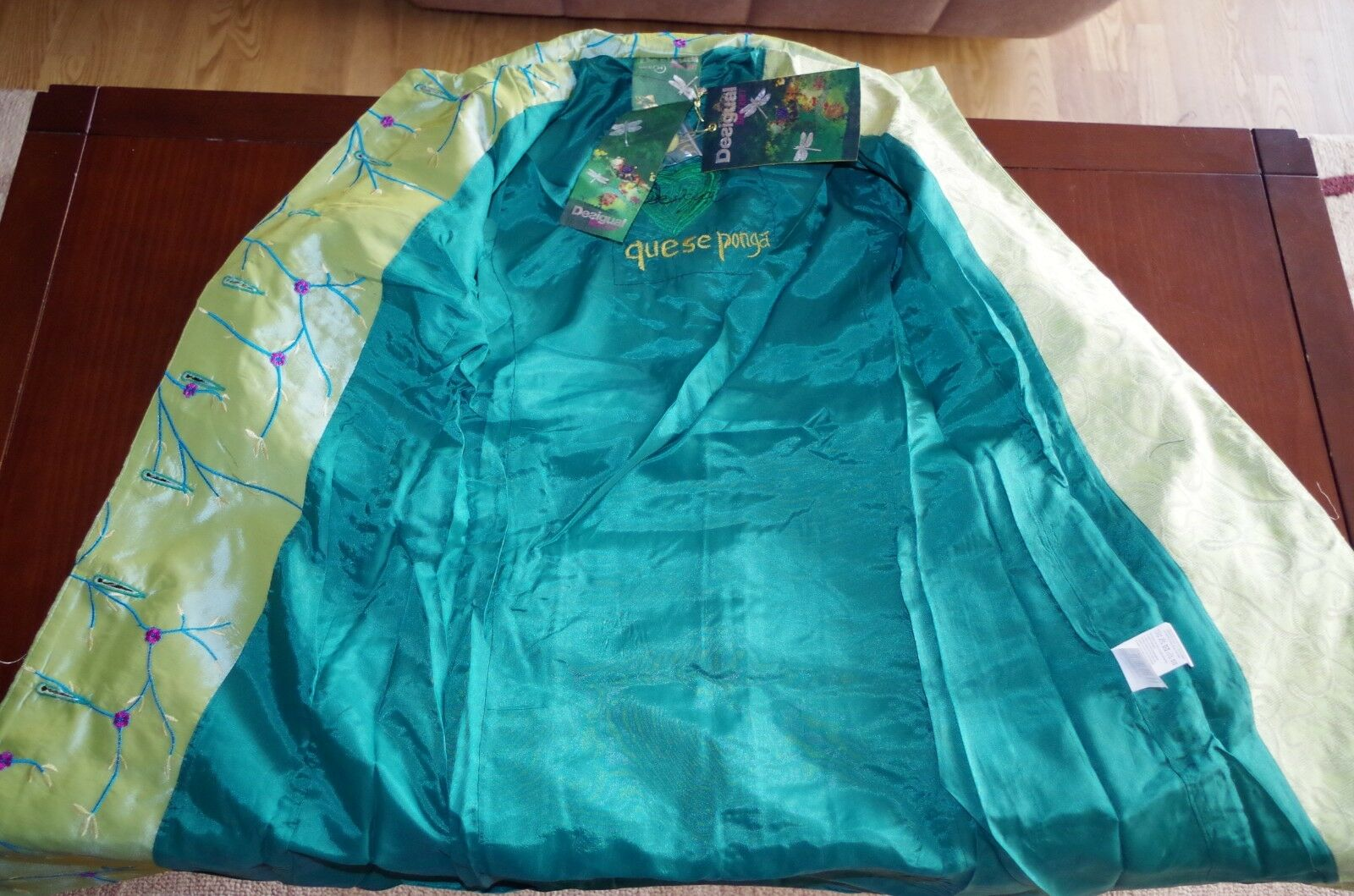 DESIGUAL sz 34 WOMENS WOMENS WOMENS COAT SHINY PATCHWORK A-LINE EMBROIDERED FISH FLORAL NEW 5d6db6