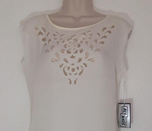 Ali /& Kris Blouse Top Short Sleeve Cream Vanilla