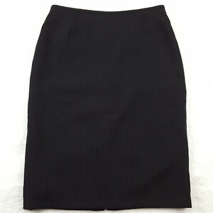 Tahari-ASL-Womens-Size-4-Knee-Length-Pencil-Skirt-Pinstriped-Black-Lined
