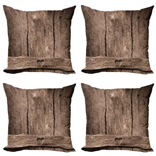Primitive Land 4 Teiliges Kissenbezugs Set Herz auf Holz