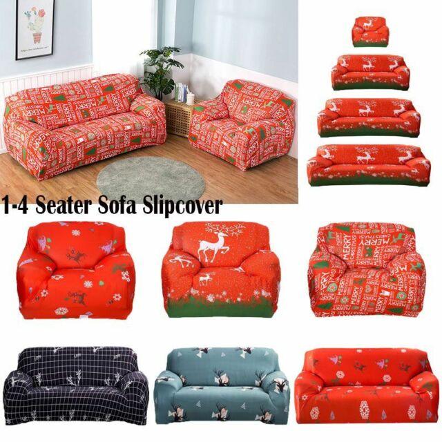 Enjoyable Merry Christmas Printing Sofa Covers Elastic Seat Stretch Slipcover Home Decor Inzonedesignstudio Interior Chair Design Inzonedesignstudiocom