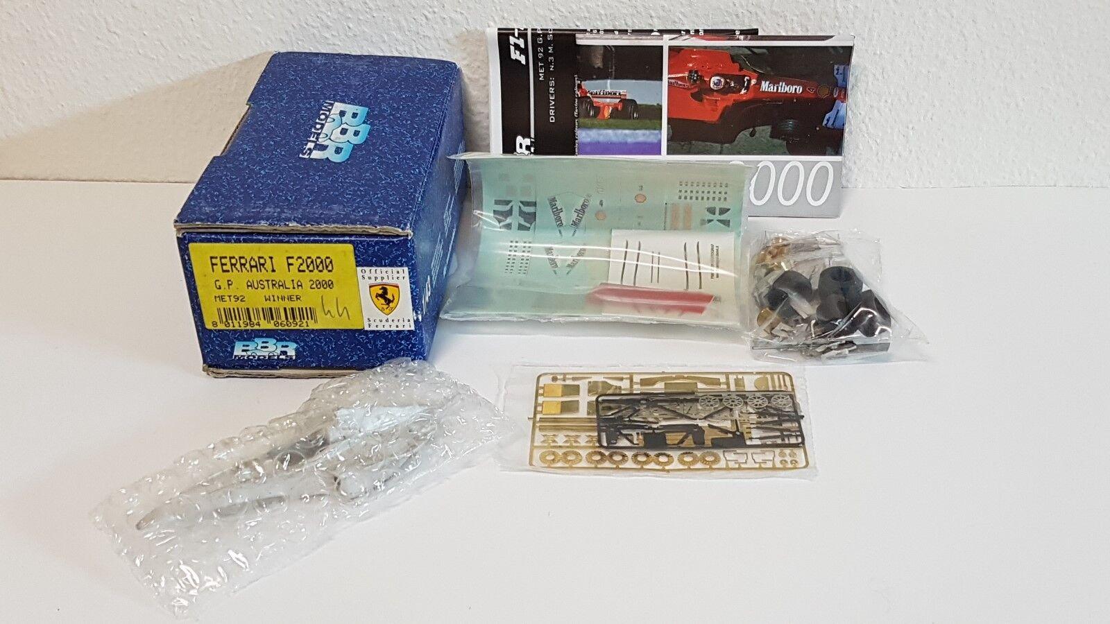 FERRARI F2000 G.P. AUSTRALIA 2000 WINNER SCHUMACHER BBR MET92 1 43 KIT N  TAMEO