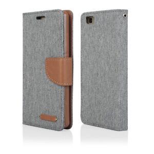 Huawei Schutzhülle Tasche Handyhülle Flipcase Wallet Stoff Etui Hülle Cover