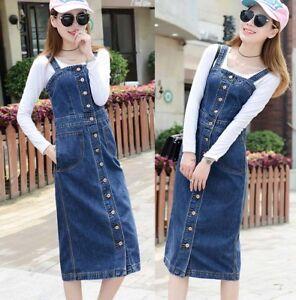 Womens-Long-Denim-Dungaree-Overall-Dress-Ladies-Jean-Pinafore-Suspender-Skirt