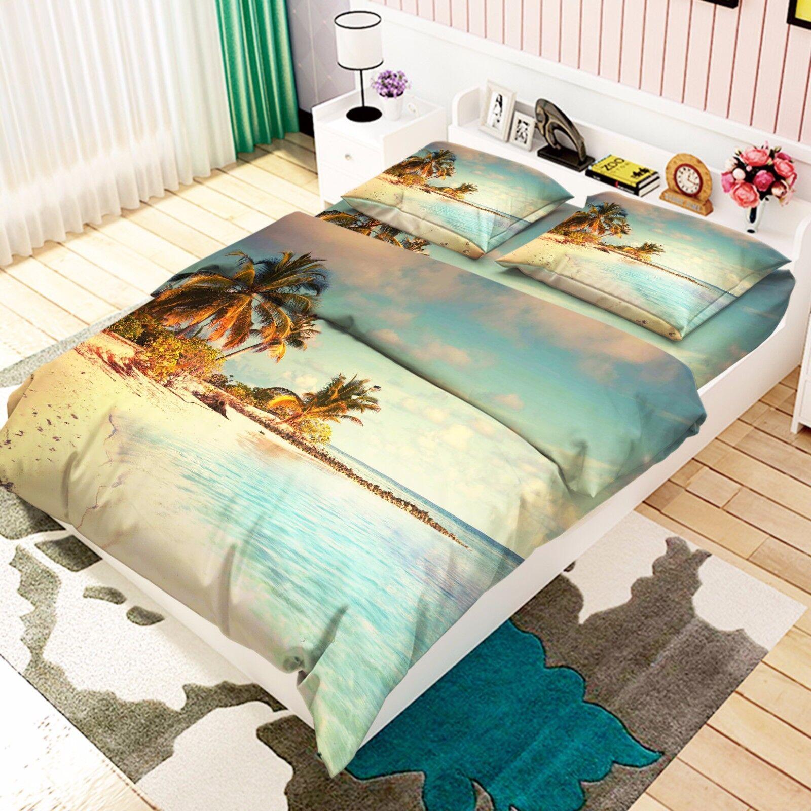 3D Shiny Beach 2 Bed Pillowcases Quilt Duvet Cover Set Single Queen King Size AU