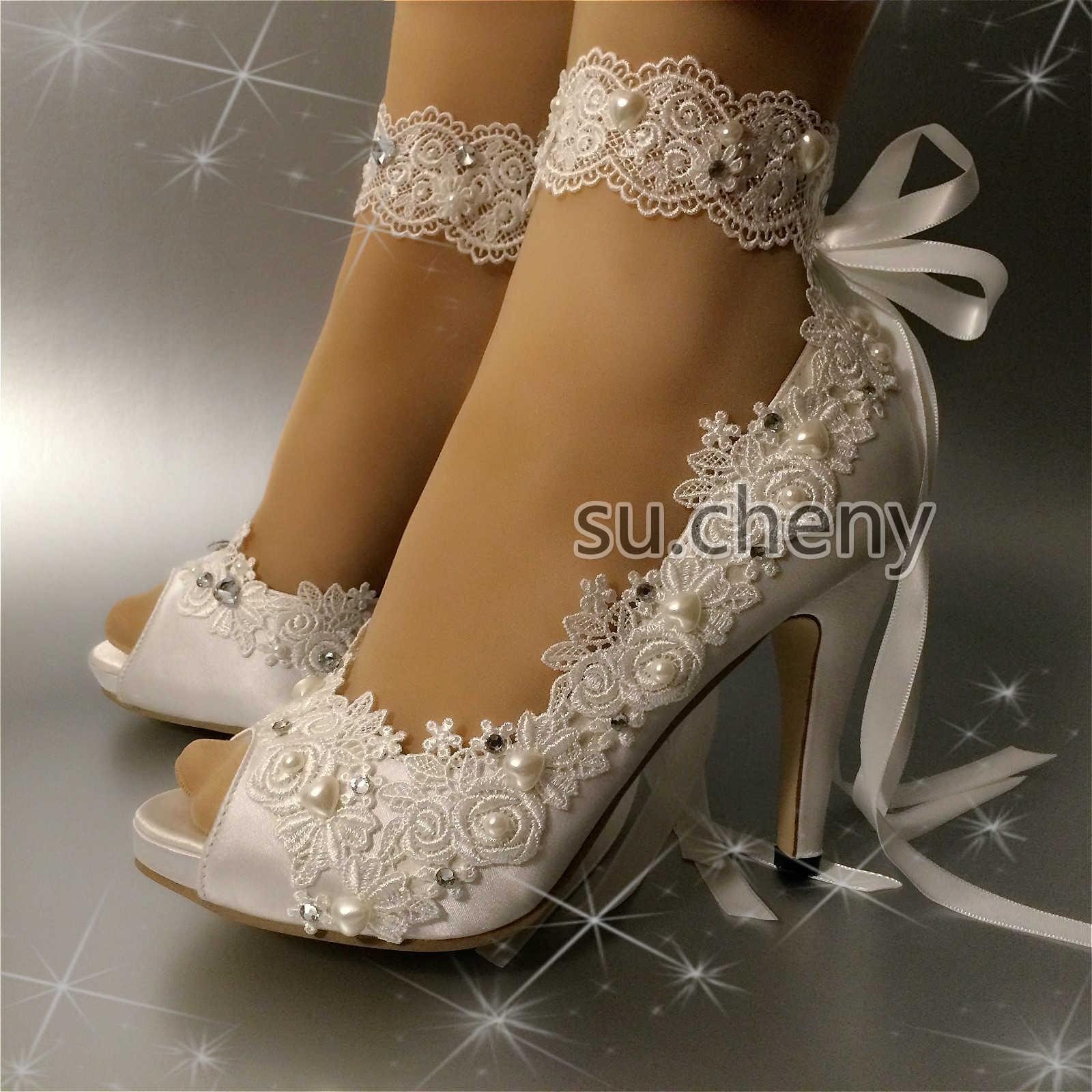 """3"""" 4"""" heel WEISS ivory satin lace open toe ribbon anklet Wedding schuhe Größe 5-11"""