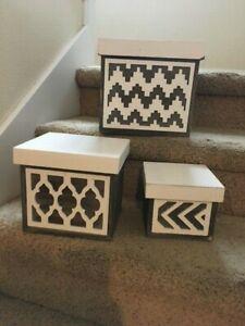Set-of-3-Nesting-Wooden-Boxes-w-Lids-Storage-Decor-Organize-Orgnaization