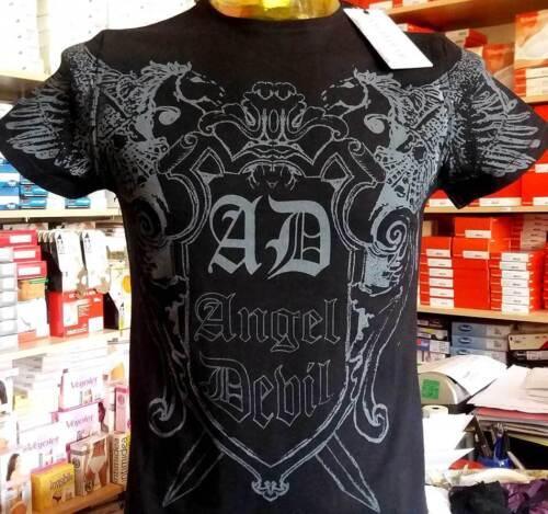 T-shirt maglia uomo Angel Devil manica corta con stampa logo art 14010016